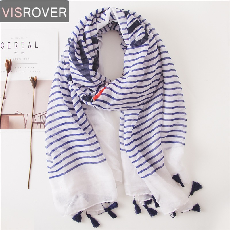 VISROVER Sailing Print Scarf Women Summer Scarf For Women Navy Beach Scarf Head Dress Multi- Functional Wrap For Ladies Poncho