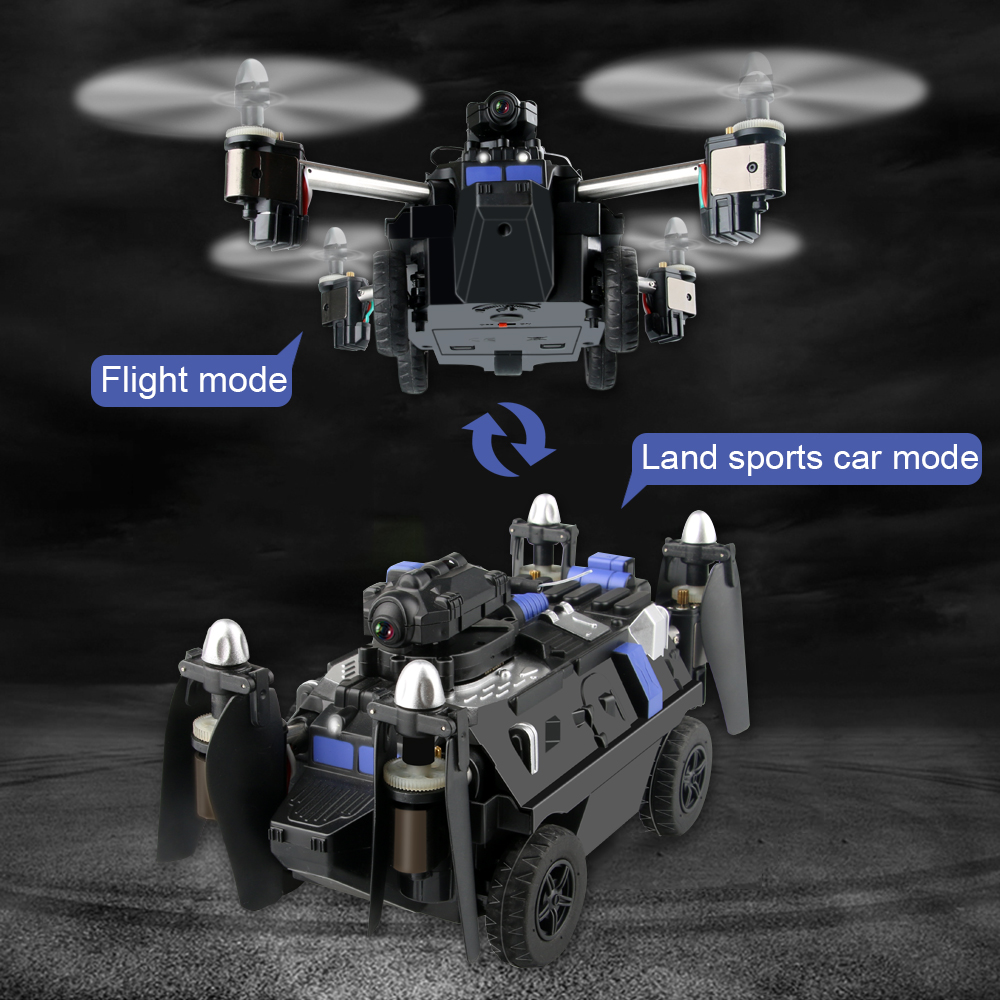 JJRC RC Drone and Flying Tank 2-in-1 2.4GHz RC Tank 6 Axis with WIFI Camera Headless Mode One Key Land RC Quadrocopter Tank with more battery original jjrc h12c drone 6 axis 4ch headless mode one key return rc quadcopter with 5mp camera in stock