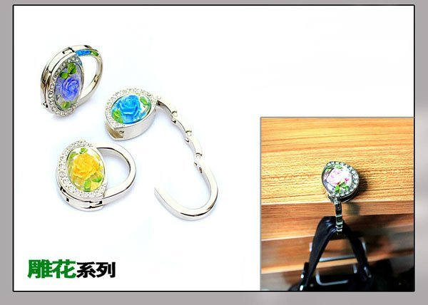 Foldable handbag hooks Handbag Hanger Zinc alloy bag hook Bag holder Handbag hooks heart Free shipping