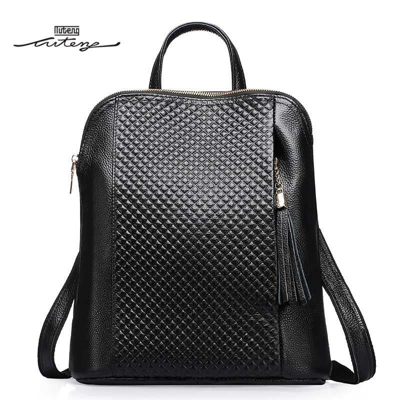 цена на TU-TENG Backpacks Designer Classic Plaid Brand Women Bag Female Pattern Vintage Backpack Mens Messenger Genuine Leather Backpack