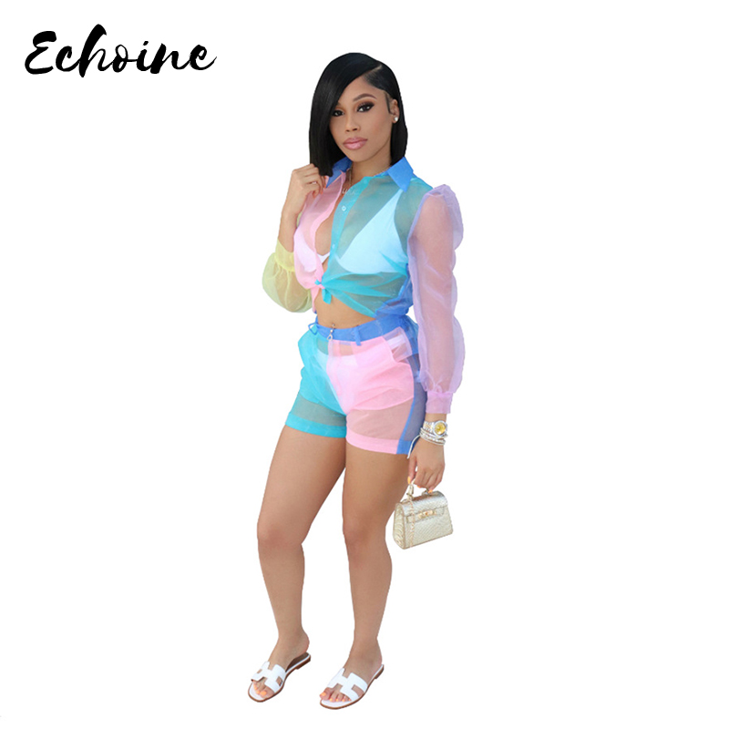 Echoine Women Sexy Organza See Though Long Sleeve Blouses Shirts Top And Shorts 2 Two Piece Set Fashion Color Patchwork Outfits