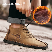 Купить с кэшбэком Fashion Warm Casual Shoes Loafers Men Shoes With Fur Quality Split Leather Shoes Men Flats Hot Sale Moccasins Shoes Big Size