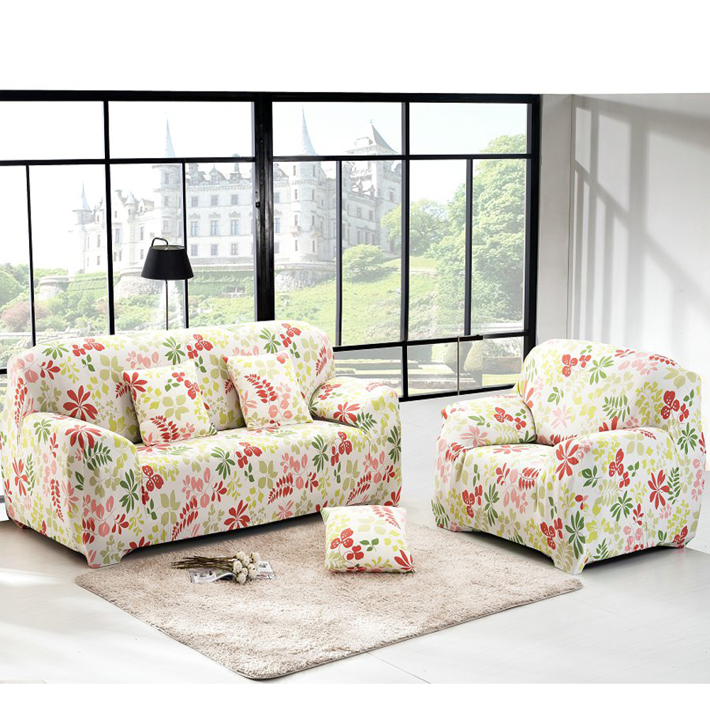 New Floral Printed Pattern Cloth Sofa Cover Art Spandex