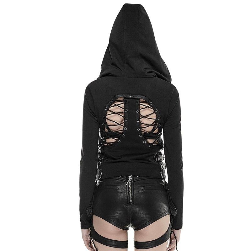 Y Punk Rock 662 Rave Creux Veste Noir Femme Zipper Avec Capuche Gothique out Manteau Sexy Hoodies Retour Maigre Cosplay Black Réglable OkPXZui
