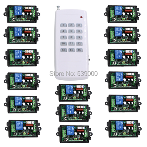 AC110v 220V 1CH Radio Wireless Controller Remote Switch teleswitch 15 Receiver with1 transmitter light lamp LED ON/OFF ac 220v 1ch rf wireless remote switch wireless light lamp led switch 1 mini receiver 4 transmitters on off 315mhz or 433mhz