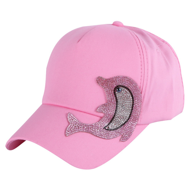 9b65ca2f36 US $4.9 21% OFF wholesale girl boy fashion cap brand hats pink rhinestone  Dolphin character design children baseball caps kids cute snapback-in ...