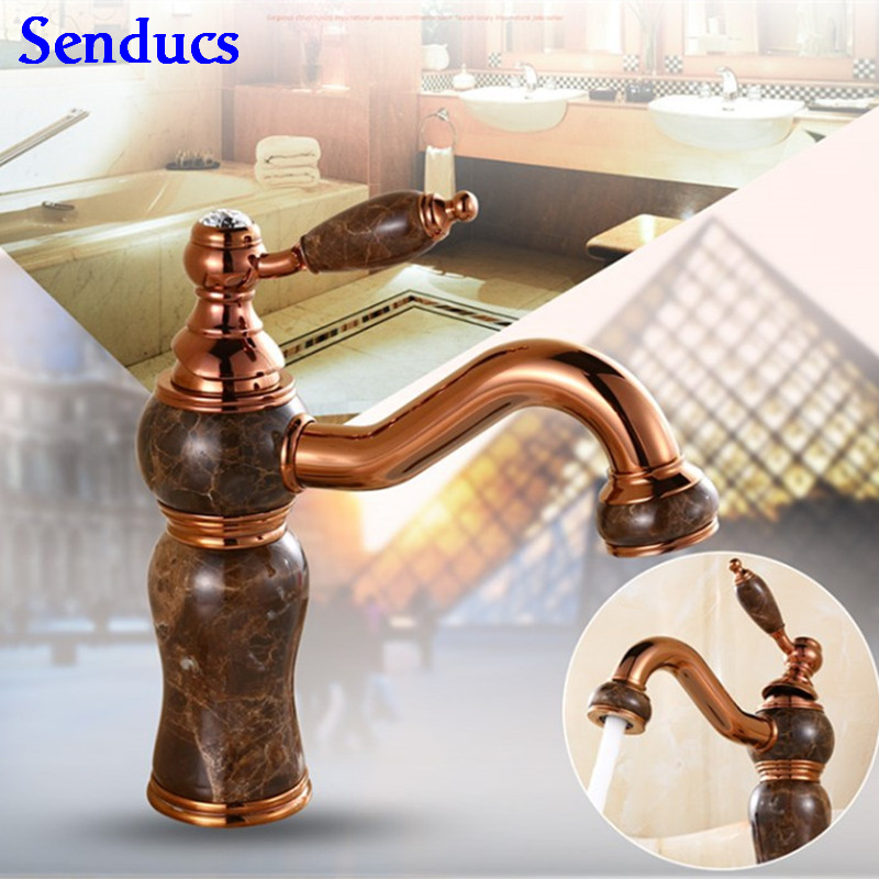 цена на Free shipping Luxury Jade stone gold basin faucet for European golden mixer tap,solid brass rose gold bathroom basin faucet