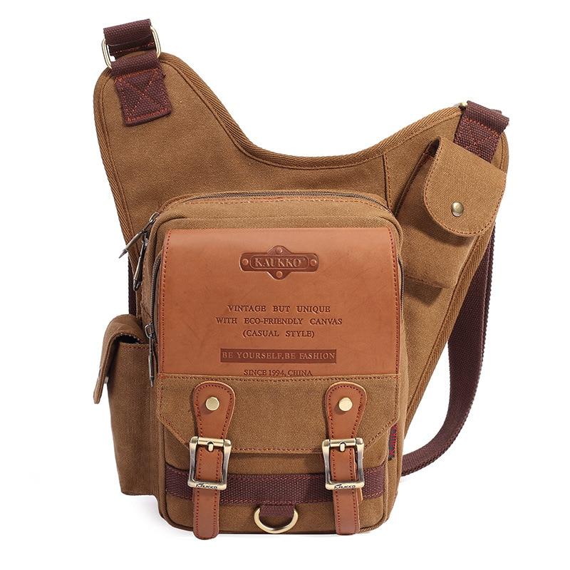 c2380dce4d16 KAUKKO Brand Men Canvas Retro Bag Multi-Pocket Travel Casual Messenger Bags  Man Crossbody Bags