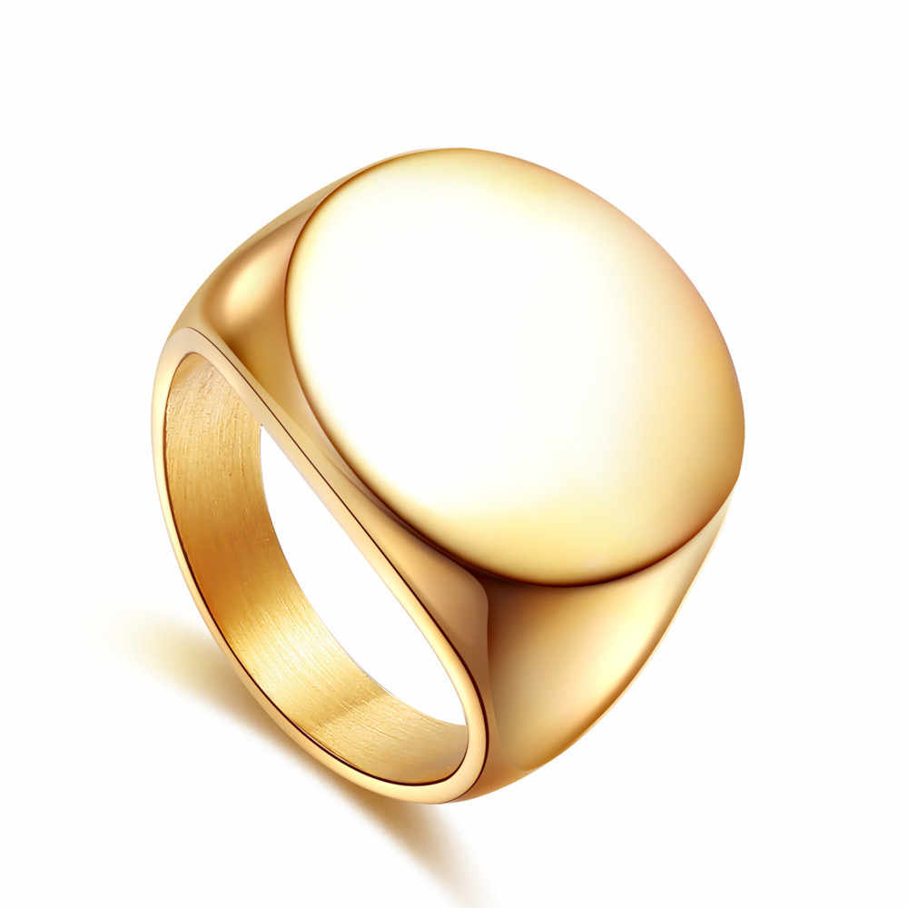 Gold Silver Color Rings Best Friend Gifts Handmade Polish Jewelry 316L Stainless Steel Round Disc Signet Rings For Men and Women