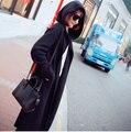 New 2016 Autumn knitting Coat Long Sleeve Casual Tops Women Cardigan Elegant Length With A hood Loose Wind Coat Black Grey