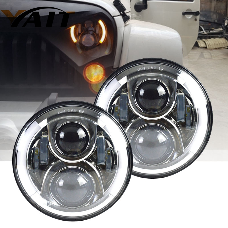Yait For Nissan Patrol Y60 7inch 60W LED Headlight for Jeep Wrangler JK CJ TJ LJ