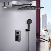 Поп Ванная комната роскошные дождь смеситель для душа комбинированный набор, настенные матовый черный осадков душем системы ванны и душа