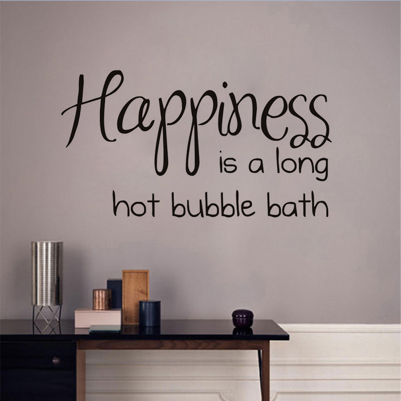 dctop happiness is a long hot bubble bath characters wall deacl black modern bathroom mirror toilet home sticker decoration in wall stickers from home
