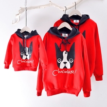 2017 Winter Family Matching Clothes Red Dog Cashmere Sweaters Family Look Hoodies Father Son Mother and Daughter Outfits