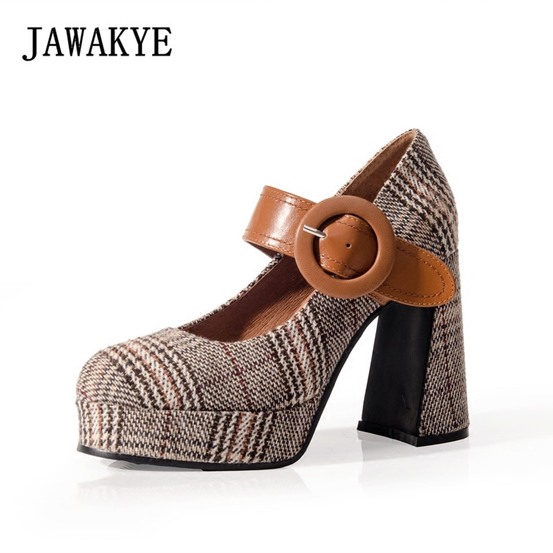 JAWAKYE New Spring Plaid cloth Brown Retro Women Pumps Buckle strap Chunky High-Heel Platform dress shoes Women shoes