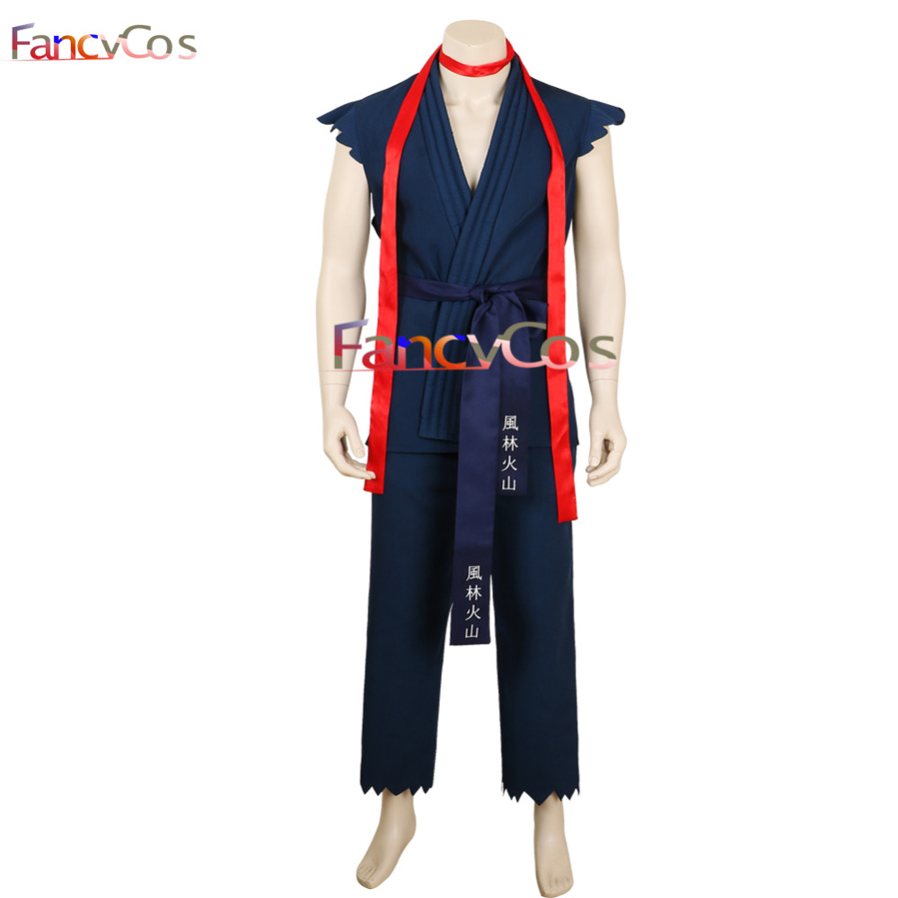 Halloween Men's Street Fighter Ryu Blue Cosplay Costume Anime Movie High Quality Custom Made