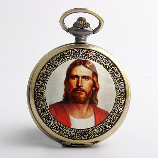f7aead90a5fd 2017 Retro Classic God s Son Jesus Pocket Watch FOB Chain Christian  Catholicism Religious Faith Men Gifts
