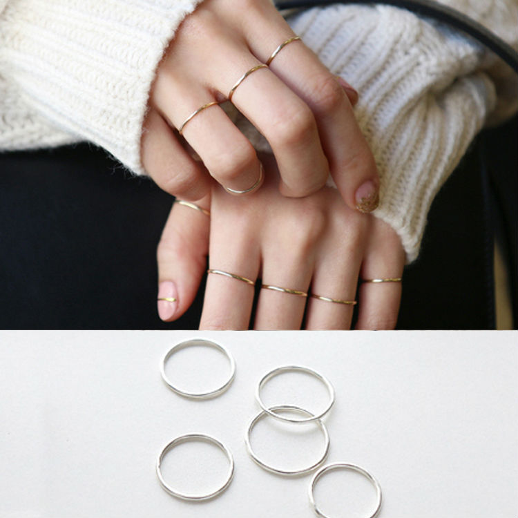 925 Sterling Silver Ring Fashion Simple Smooth Fine Ring Thin Little finger Ring For Women Jewelry box