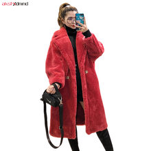 2019 New Women Winter Fur Coat Spring Autumn Long Loose Jacket Sexy Pink Red Outer Warm Wool Jacket Vintage Outwear Cacaso AC264