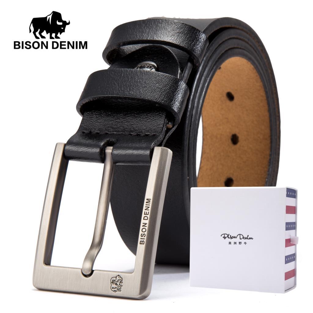 1c6a3928863d BISON DENIM Cowskin Belt Men Accessories Cowboy Genuine Leather Belts For  Men Vintage Pin Buckle Mens Belts Gift For Man N71015