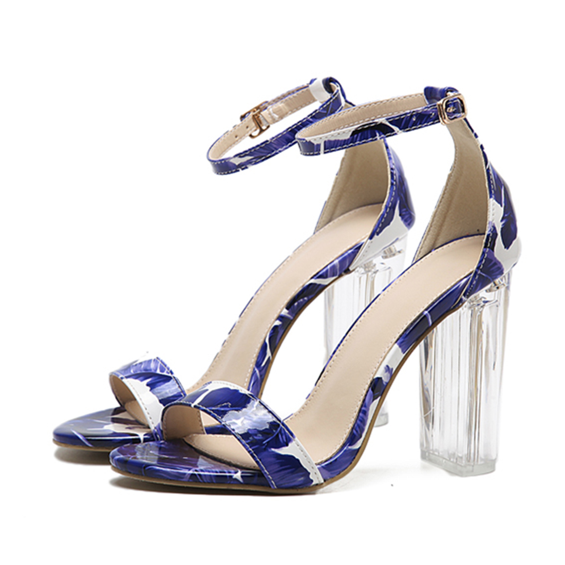ФОТО New design women clear sandals crystal high heel buckle T-strap women party shoes transparent women print flower wedding sandals