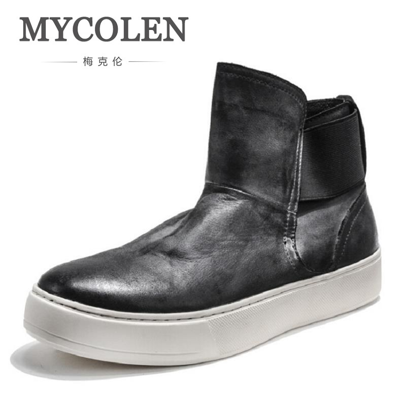 MYCOLEN Man Round Toe Chelsea Boots Casual Slip On Leather Ankle Boots Mens Boots Winter Heighten Shoes Black Botas Moto Hombre mycolen brand boots breathable slip on chelsea boots genuine leather male wear boots fashion casual man military shose sapatos