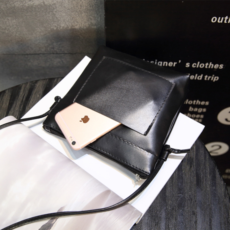 Women leisure harajuku black small / mini phone wallet bag pu leather cheap crossbody shopping flap