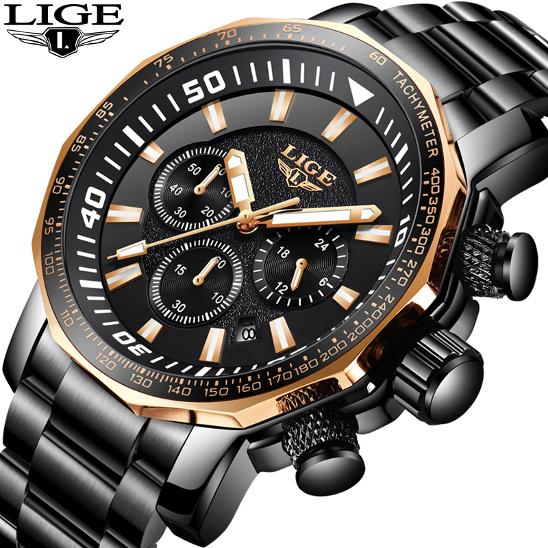 Relogio Masculino LIGE Mens Watches Top Brand Luxury Fashion Quartz Clock Men's Stainless Steel Military Waterproof Sport Watch skmei mens watches top brand luxury sport military watch men clock stainless waterproof quartz wrist watch relogio masculino
