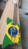Оптовая продажа Гитара Новое поступление пользовательские Explorer Электрогитары с Бразилии инкрустация бразильский флаг тела Одежда высшего