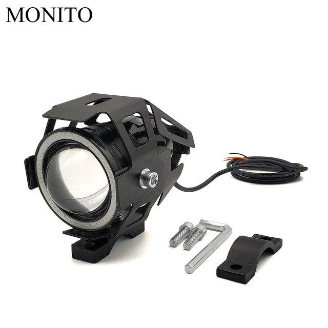 125W U7 LED Moto phare ange yeux conduite phare antibrouillard pour Moto Guzzi STELVIO V7/V9 classique Racer pierre spéciale