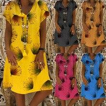 Large size Womens Dress 2019 summer new fashion short print sleeve v-neck Dresses