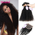 Mealid Curly Malaysian Virgin Hair With Closure 4 Bundles Malaysian Kinky Curly Hair With Closure Curly Hair Closure