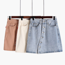 Button designer Women Blue Ripped Bodycon Mini Denim Pencil Skirts Female Lady 2019 Mid Waist Streetwear Loose Short Jean Skirts