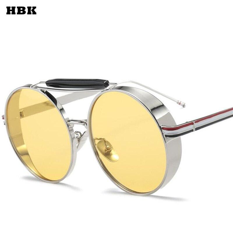 HBK ronde Femme lunettes de soleil femmes 2018 jaune conduite Cateye lunettes rétro Sexy Occhiali da sole lunettes de soleil Lunette Femme