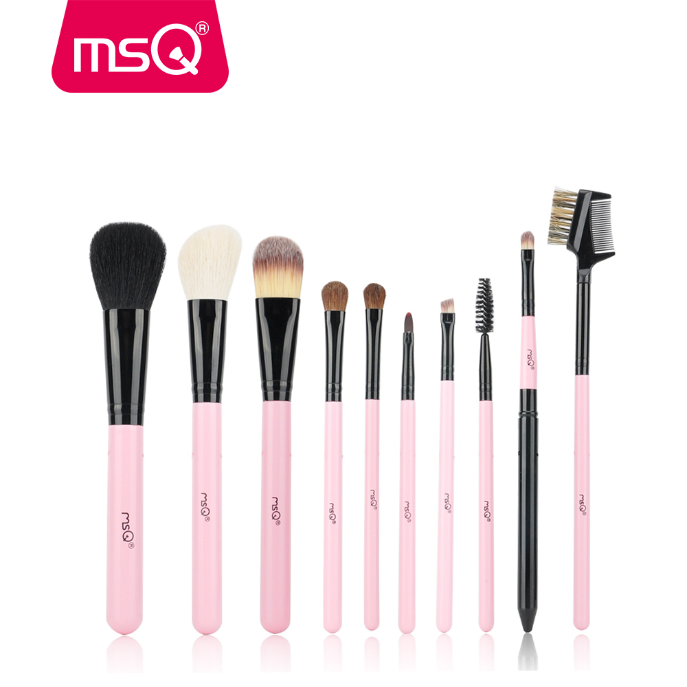 MSQ 10pcs Powder Blending Travel Makeup Brushes Set Eye Shadow Foundation Eyebrow Lip Brush Make up Brushes Cosmetics Beauty Kit 20 pcs set makeup brushes set eye shadow foundation eyeliner eyebrow lip brush cosmetics tools kits beauty make up brush 2017