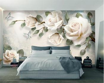 Beibehang Custom wallpaper mural modern hand painted flowers European style TV backgrounds wall living room bedroom 3d wallpaper цена 2017