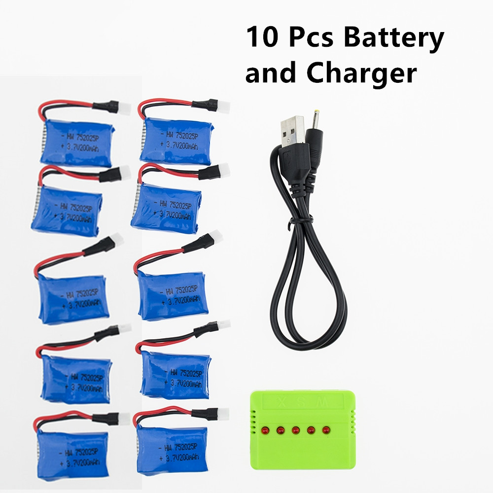 10 pcs <font><b>3.7V</b></font> <font><b>200mAh</b></font> <font><b>battery</b></font> with USB fast charger Syma X11 x4 x13 Quadcopter Droen rc Parts high quality image