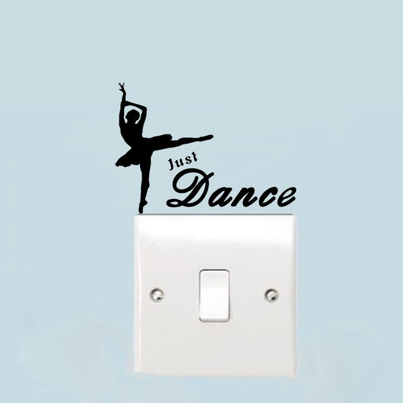 Just Dance Dancing Fun Country Ballet Vinyl Switch Sticker Artistic Wall Stickers Home Decor Living Room A2115 image