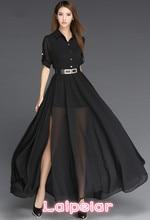 Woman Dress Chiffon 2018 Black And White Long Dress Korea Style Fashion Robe Femme Side Slit Maxi Women Dress With Belt Vestidos stylish plunging neck black side slit women s maxi dress