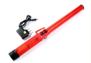 43cm Long Rechargeable Style LED Traffic Warning Red Baton With The Whistle Emergency Ann Glo-sticks
