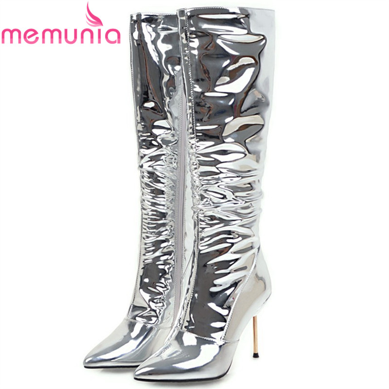 MEMUNIA 2018 fashion new arrive women boots pointed toe silvery super high thin heel ladies boots zipper sexy knee high boots memunia new arrive hot sale genuine