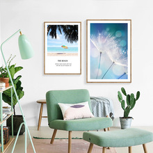 Beach Coconut Tree Dandelion Seascape Canvas Painting Wall Art Blue Posters Nordic Picture Modern Home Decoration