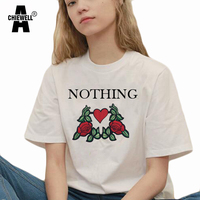 Achiewell Nothing Letter Printed Female T Shirts O Neck Short Sleeve Rose Embroidery Harajuku T Shirts