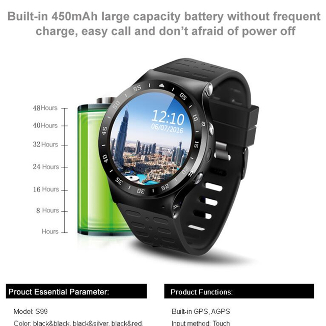 (В Наличии) ZGPAX S99A 3 Г Smart Watch Android 5.1 2.0MP Камера GPS Wi-Fi шагомер Сердечного Ритма 3 Г Smartwatch PK KW88 № 1 D5 X3 Плюс