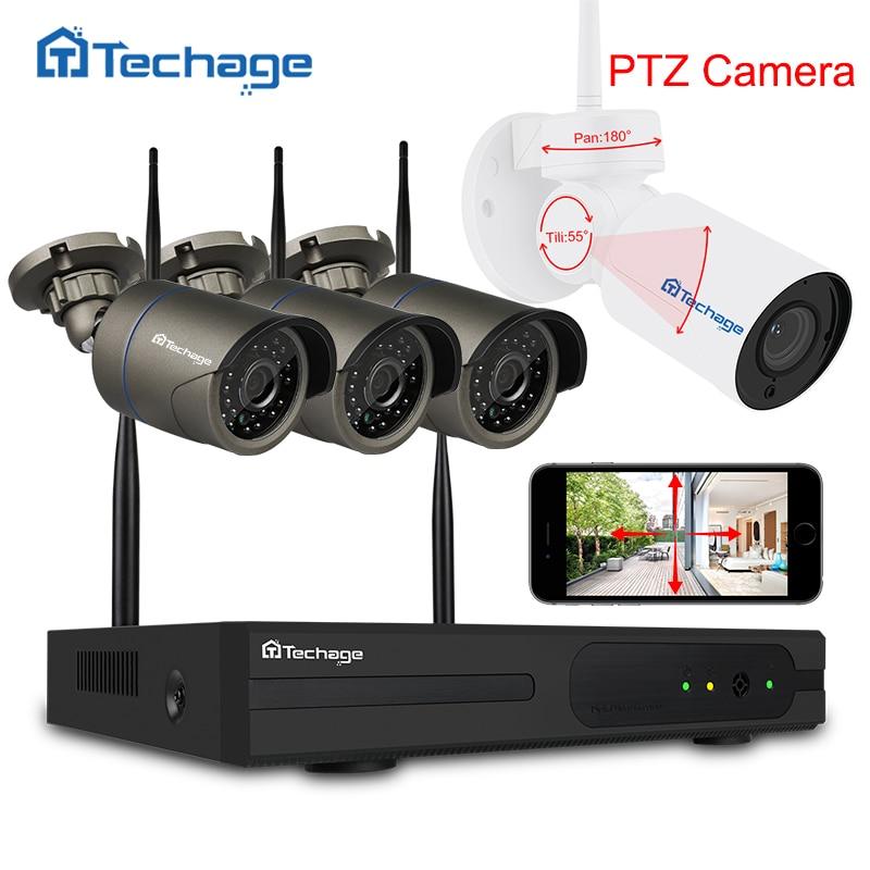 Techage 4CH 1080 P Wi-Fi видеонаблюдения Системы Беспроводной NVR комплект 2.0MP открытый PTZ Wi-Fi IP Камера P2P видеонаблюдения системы комплект