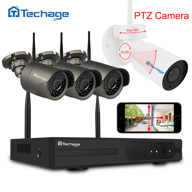 techage 4ch 1080p wifi cctv security system wireless nvr kit 20mp outdoor ptz wifi ip - Nvr Security System