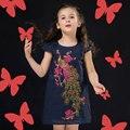 Девушки Платья Летние 2016 Новых Младенцев Девушки Вышивка Платья Принцессы Дети Павлин Платья для Девочек Малышей Девушка Одежда
