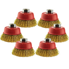 6pcs Wire Cup Brush 0.3mm 65mm Brass Coated Wheel For Deburring Angle Grinder Tempered Steel Bristles