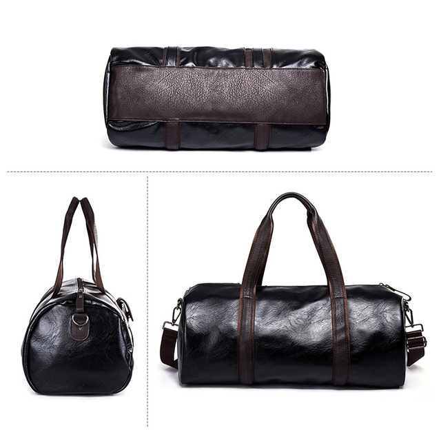 Sports Bag Men for Gym Yoga Soft Pu Leather Black Brown Cylindrical Sport Fitness Bag Male Shoulder Travel Luggage Bag XA594WD 5