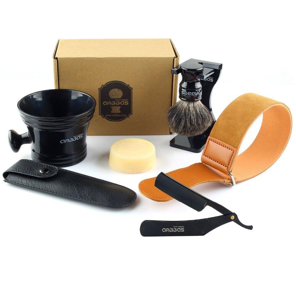 все цены на Anbbas 7Pcs Shaving Set Stainless Steel Straight Razor Folding Shaving Knife,Silvertip Badger Hair Brush, Stand, bowl,Soap,Strop